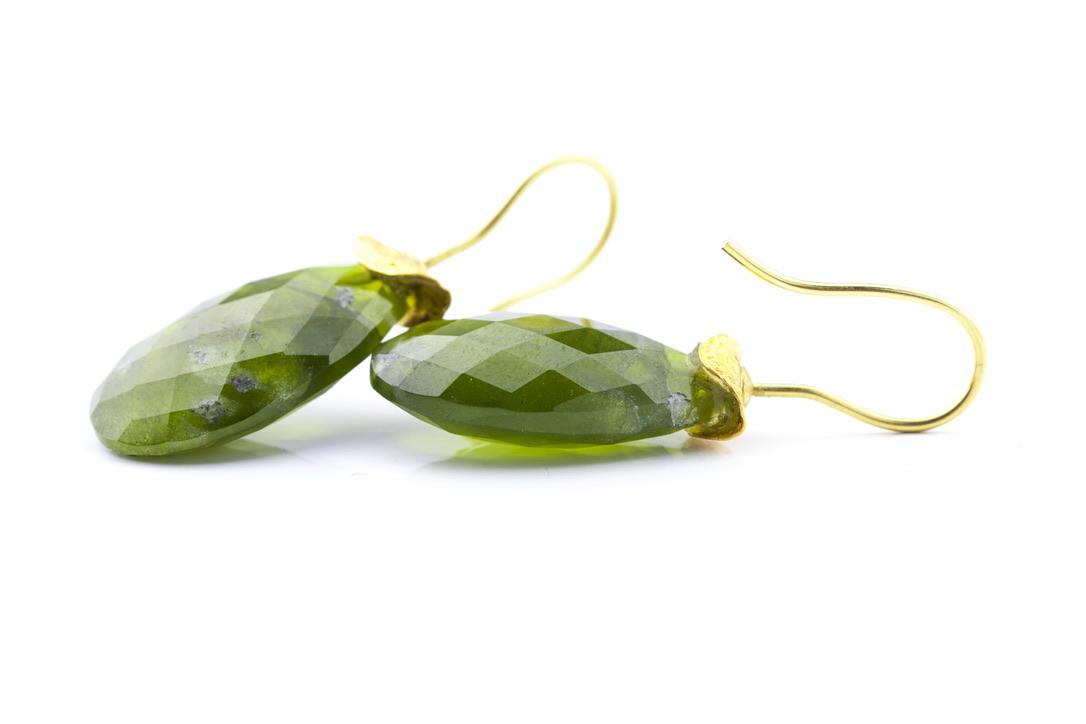 Ohrringe in Gelbgold 750/- und Feingold 999/-mit Peridot