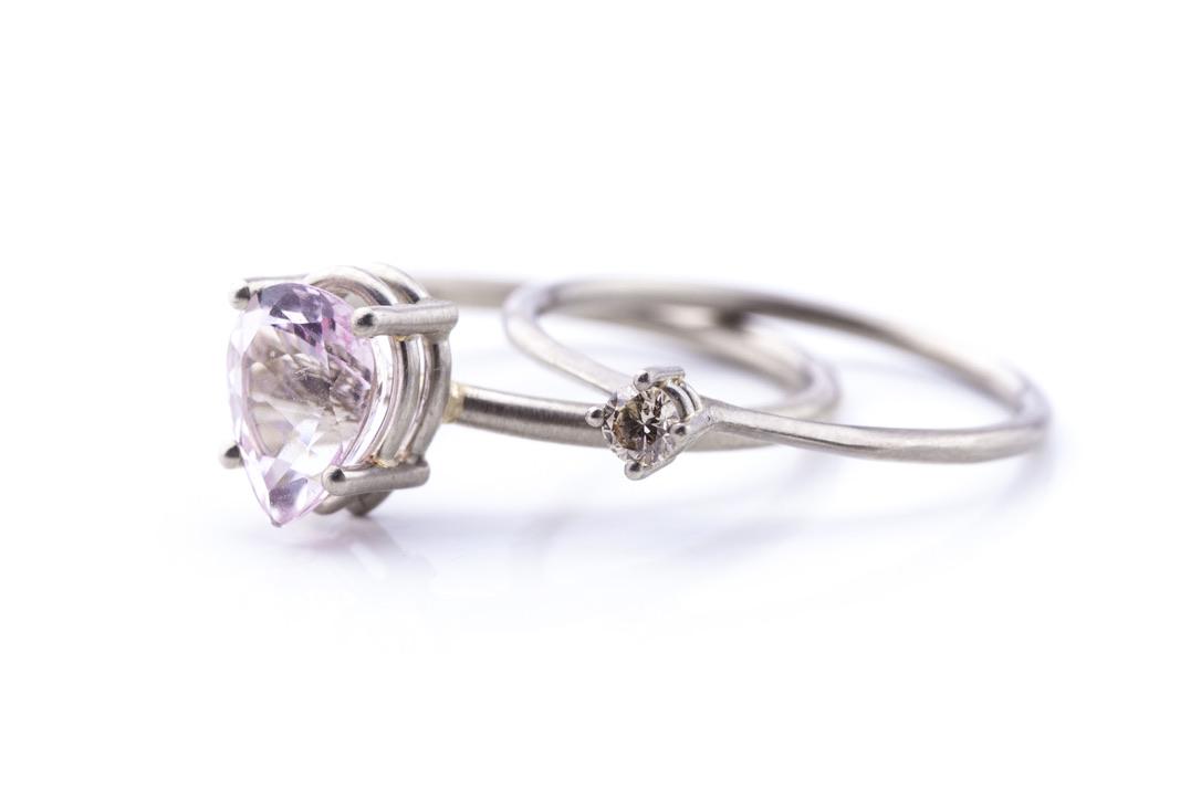 Ring in Weißgold 585/- mit Morganit, Ring in Weißgold 585/- mit Brillant